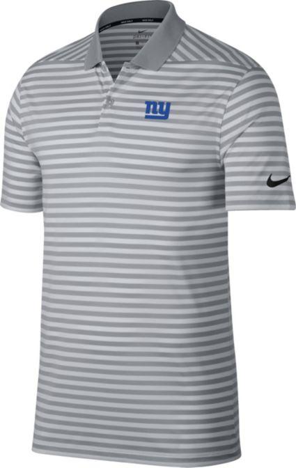 Nike Men's New York Giants Victory Stripe Grey Golf Polo