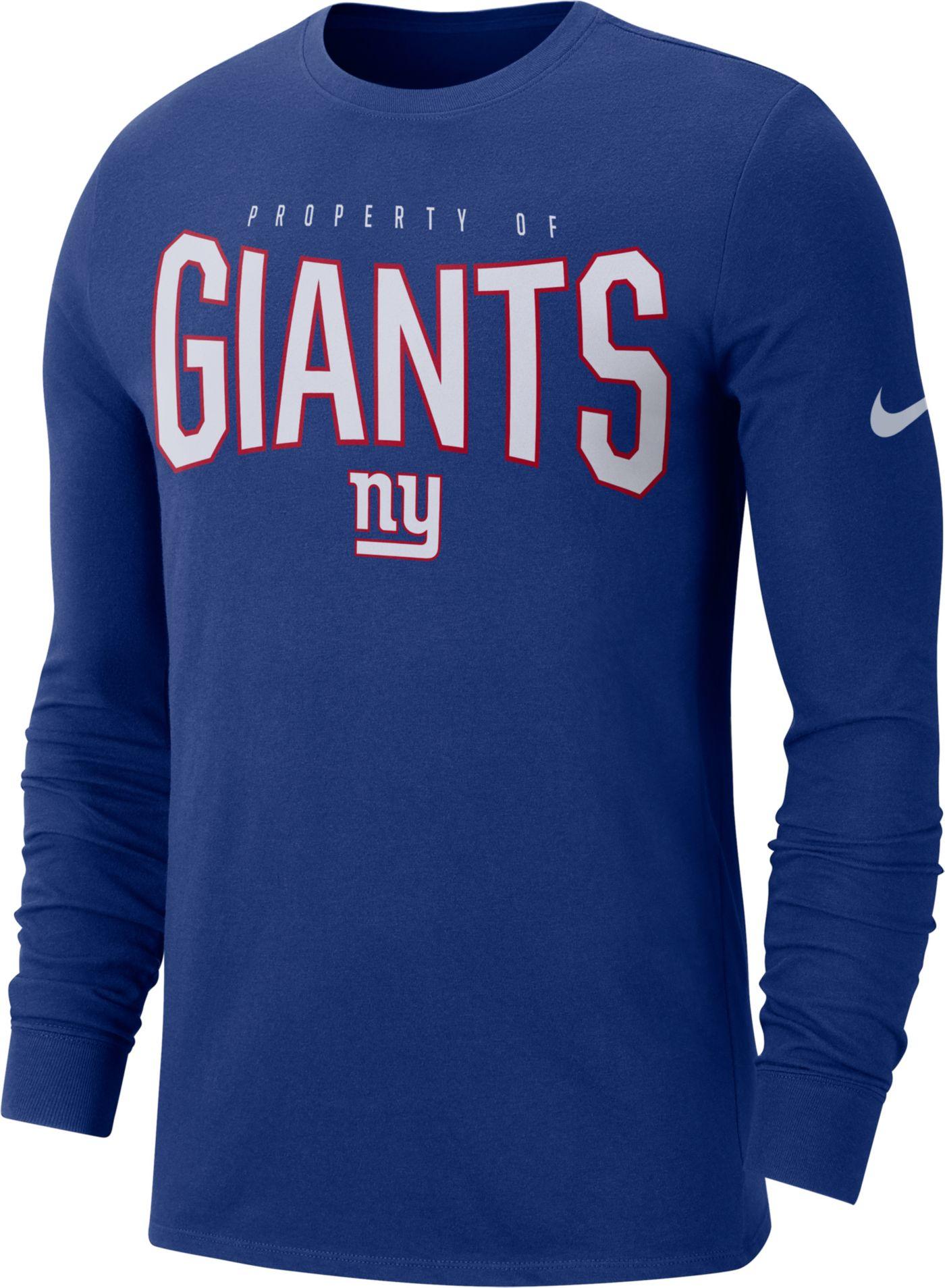 Nike Men's New York Giants Sideline Property Of Long Sleeve Blue Shirt
