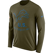 Nike Men's Salute to Service Detroit Lions Legend Performance Long Sleeve Shirt