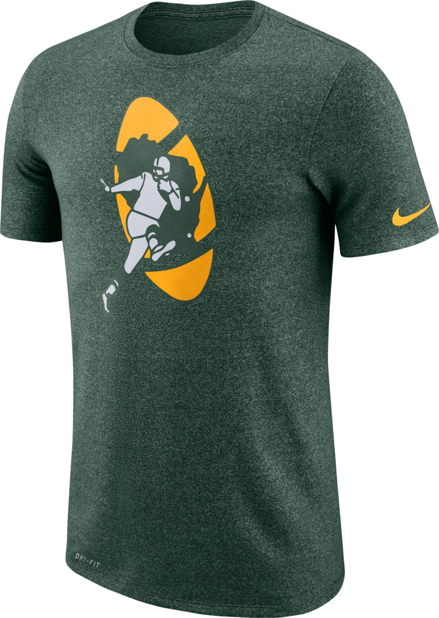Nike Men's Green Bay Packers Marled Historic Performance Green T-Shirt