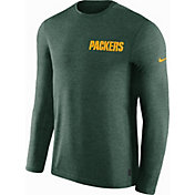 Nike Men's Green Bay Packers Sideline Coach Performance Green Long Sleeve Shirt