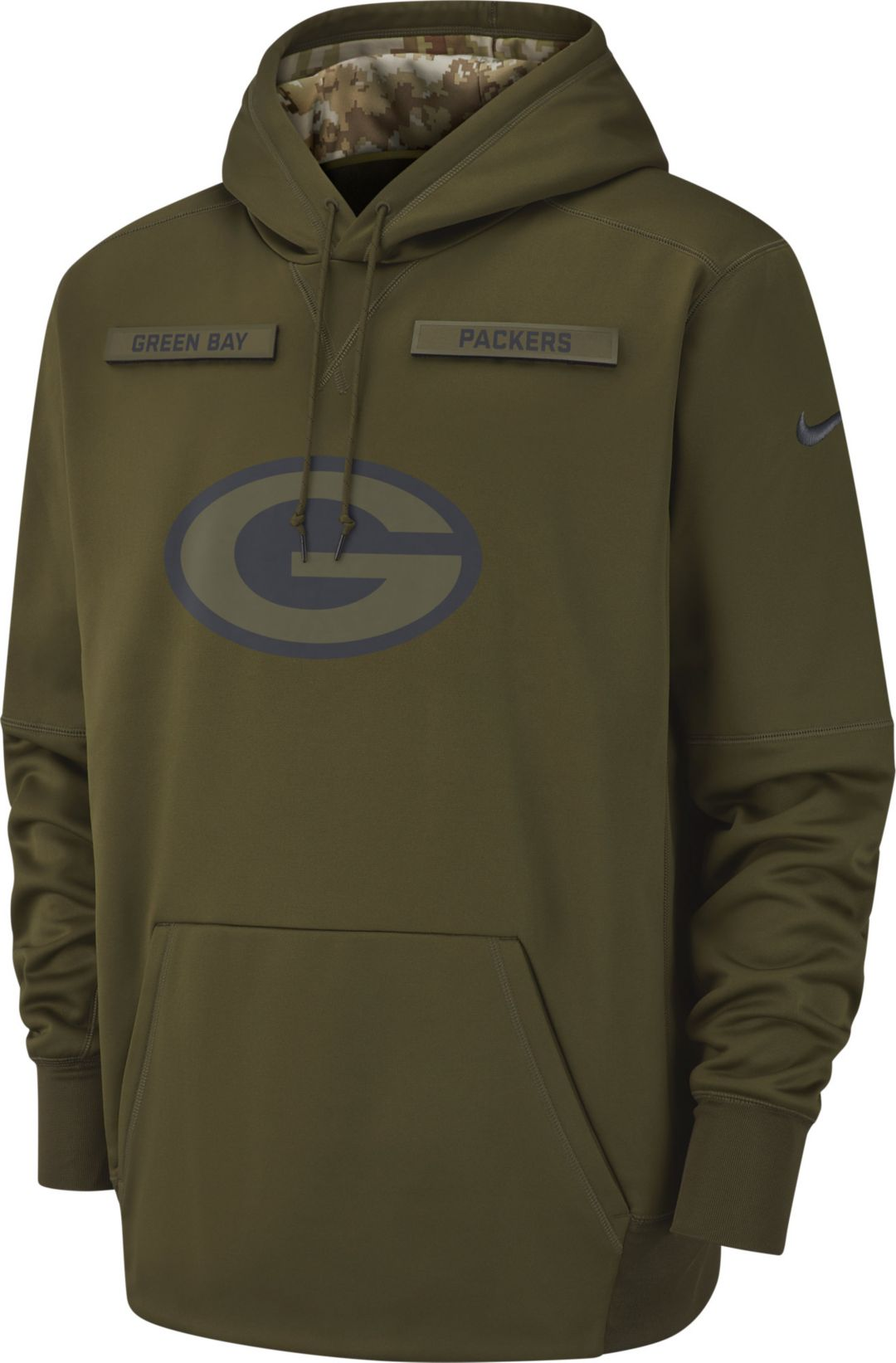 aa558bd5f6b Nike Men s Salute to Service Green Bay Packers Therma-FIT Performance  Hoodie 1