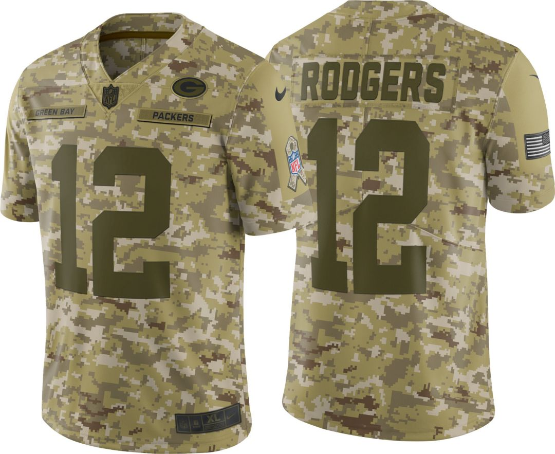 5986bb3ad Nike Men's Salute to Service Green Bay Packers Aaron Rodgers #12 Limited  Camouflage Jersey 1
