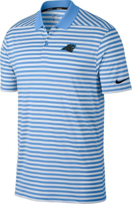 Nike Men's Carolina Panthers Victory Stripe Blue Golf Polo