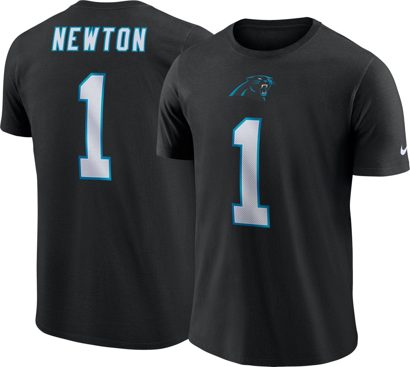 Nike Men's Carolina Panthers Cam Newton #1 Pride Logo Black T-Shirt