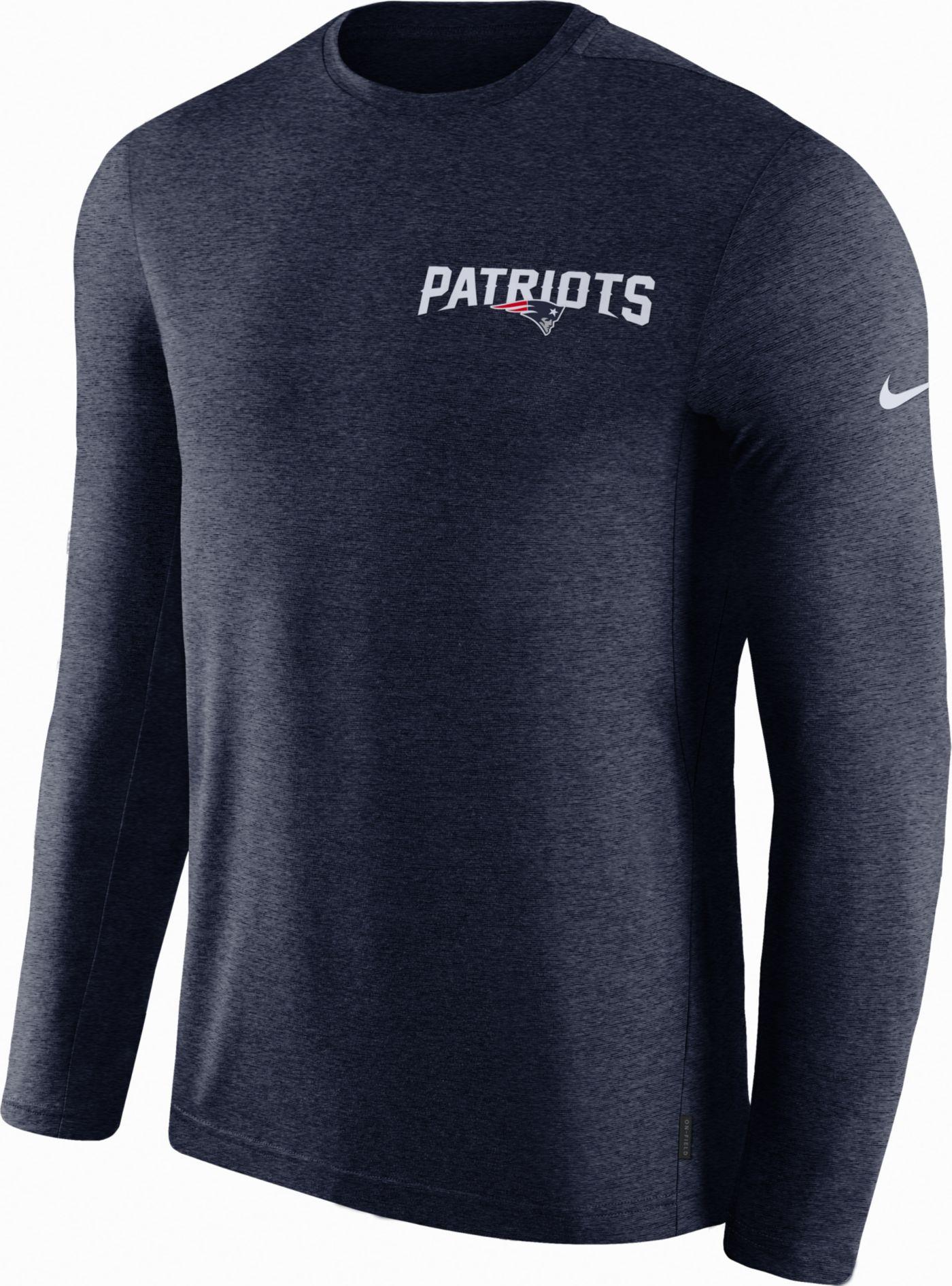 Nike Men's New England Patriots Sideline Coach Performance Navy Long Sleeve Shirt