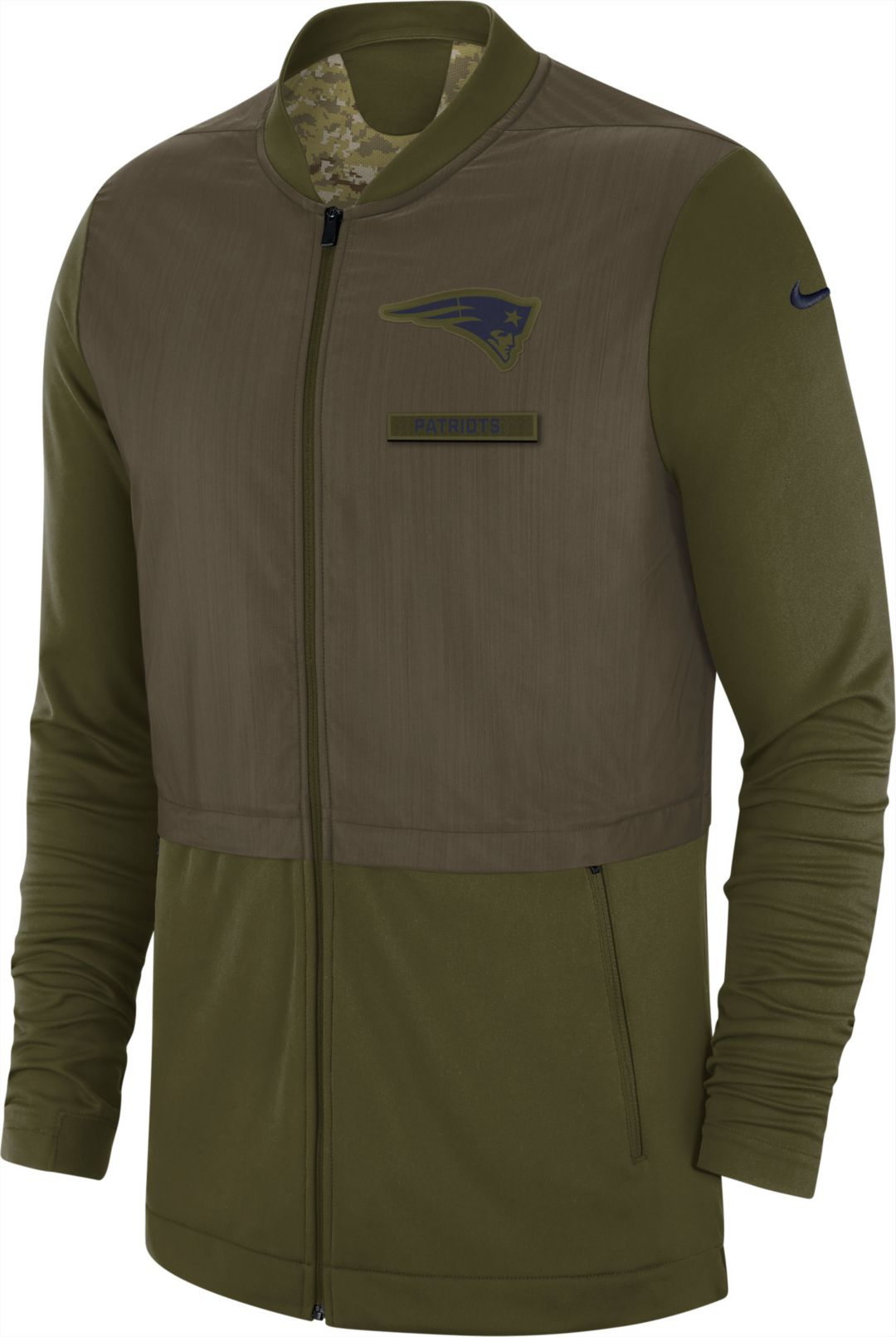 new styles 60bce a8afe Nike Men's Salute to Service New England Patriots Hybrid Full-Zip Jacket
