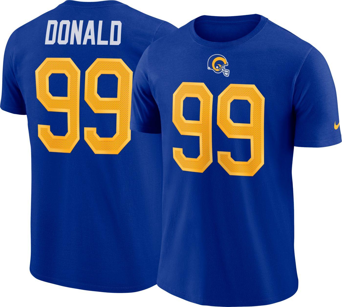 Nike Men's Los Angeles Rams Aaron Donald #99 Pride Logo Royal T-Shirt