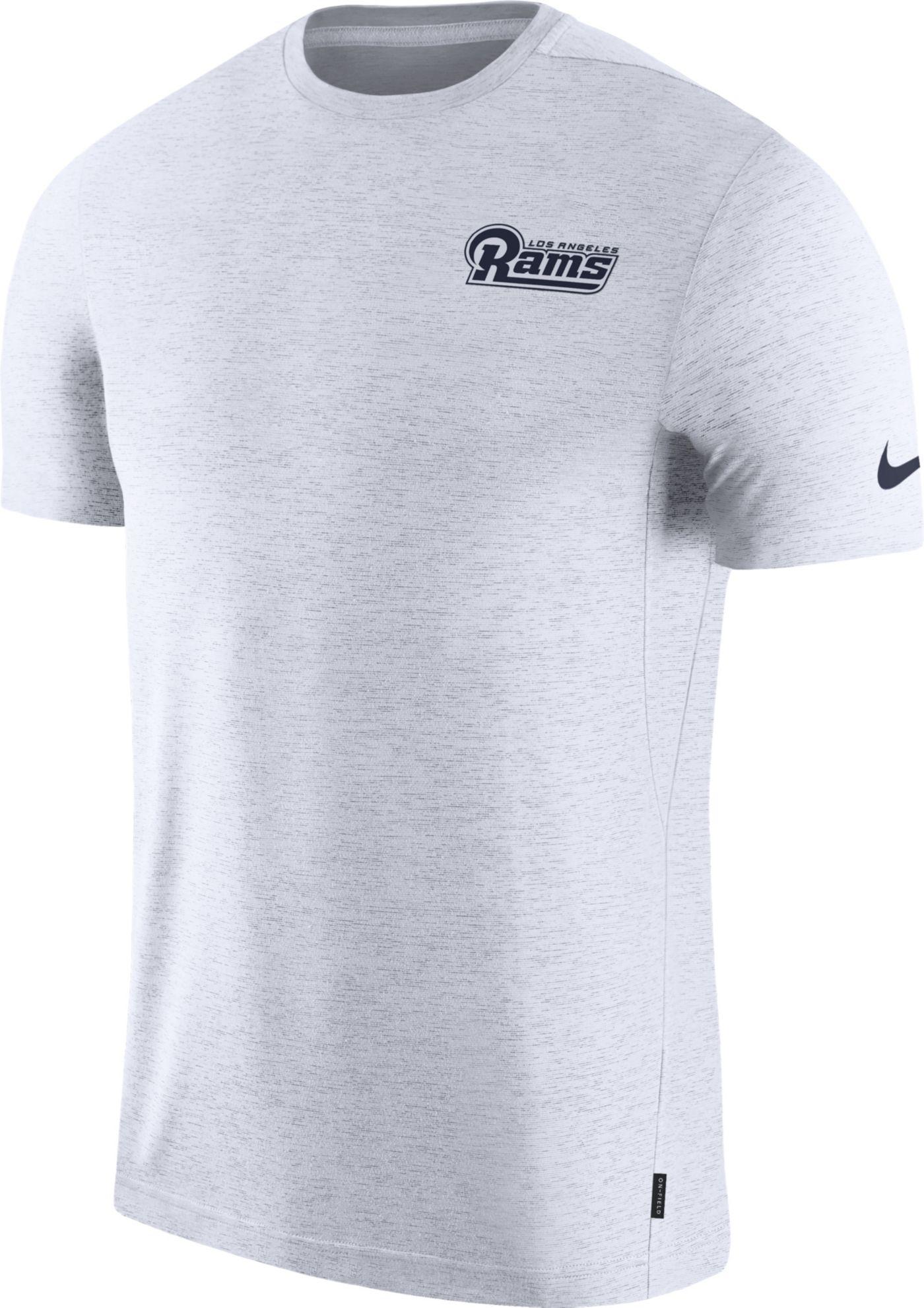 Nike Men's Los Angeles Rams Sideline Coach Performance White T-Shirt