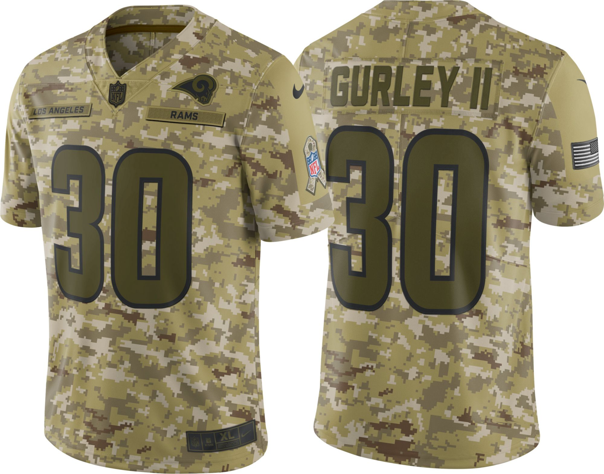 5dc9ba666 ... new zealand nike mens salute to service los angeles rams todd gurley 30  camouflage limited jersey