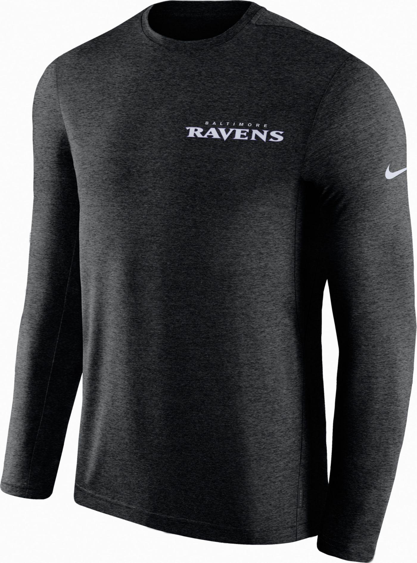 Nike Men's Baltimore Ravens Sideline Coach Performance Black Long Sleeve Shirt