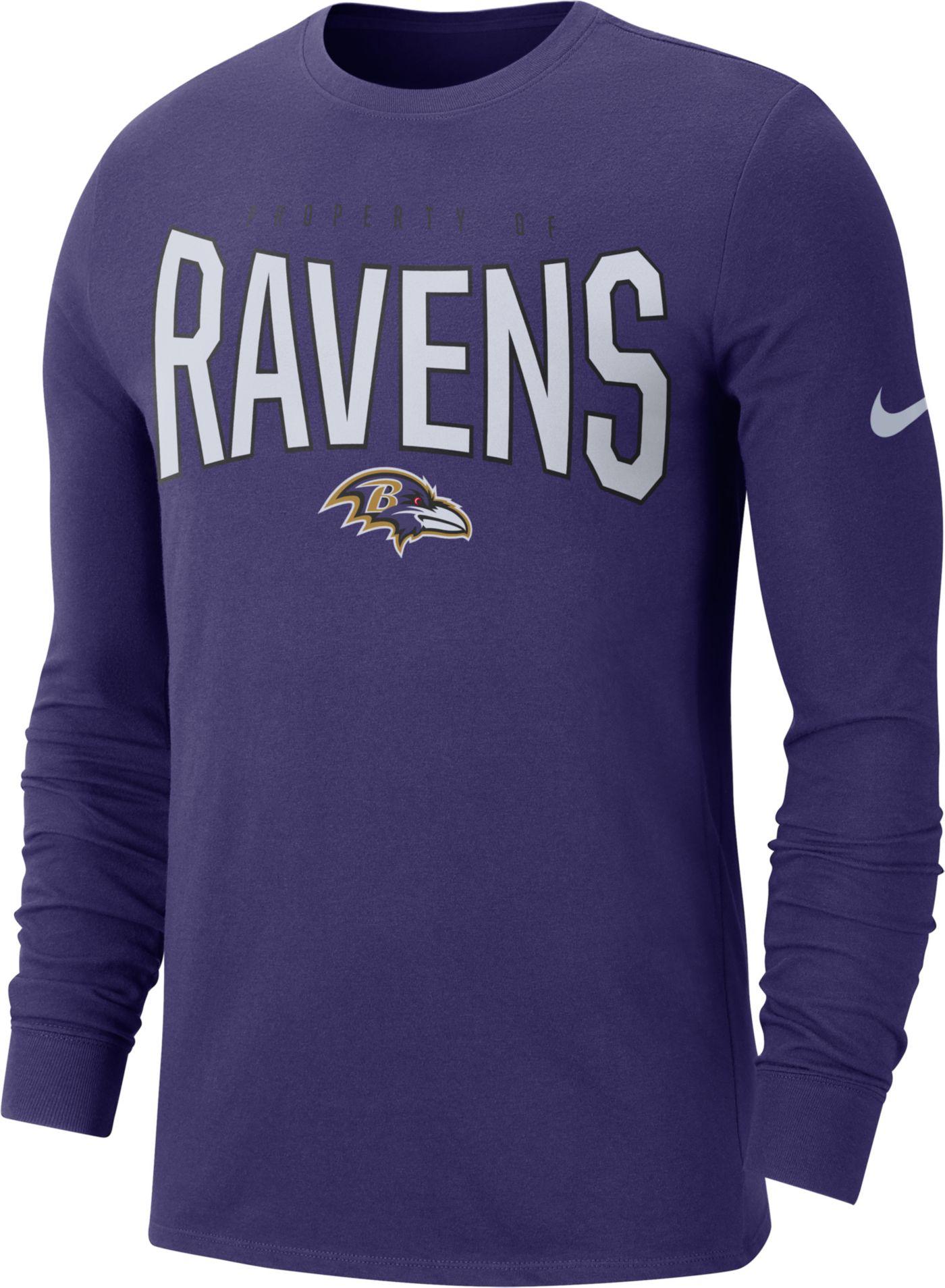 Nike Men's Baltimore Ravens Sideline Property Of Long Sleeve Purple Shirt