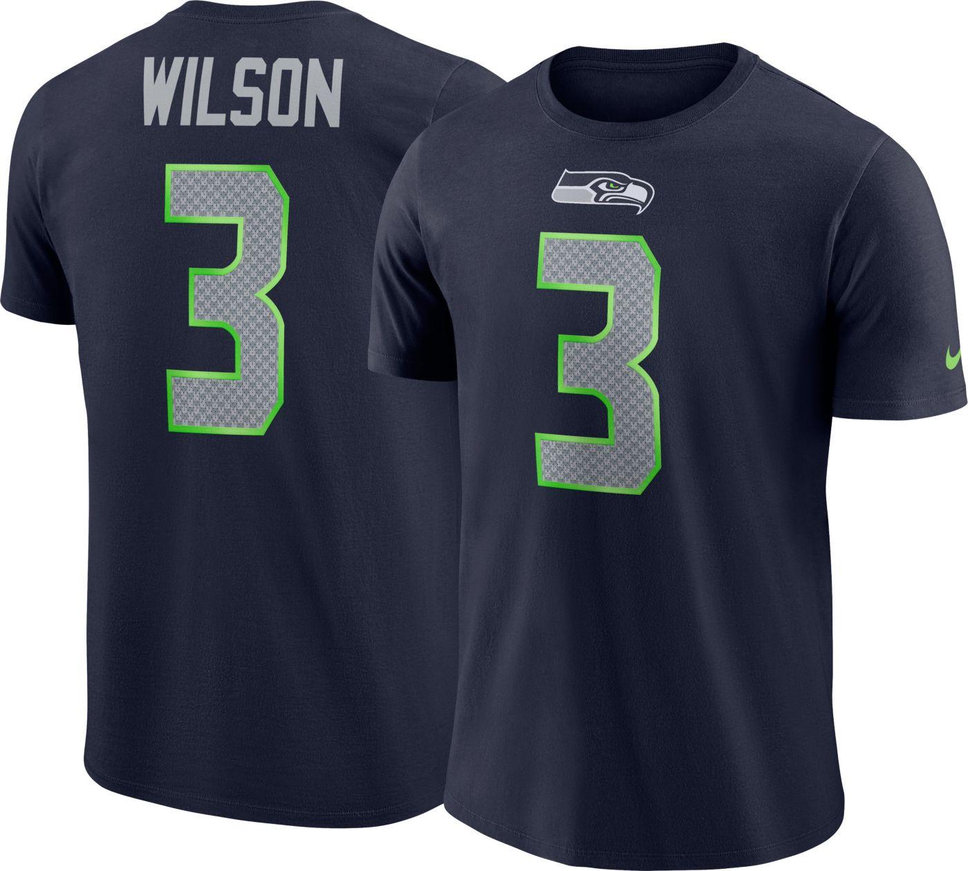 Nike Men's Seattle Seahawks Russell Wilson #3 Pride Logo Navy T-Shirt
