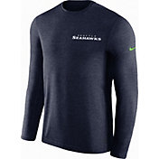 Nike Men's Seattle Seahawks Sideline Coach Performance Navy Long Sleeve Shirt