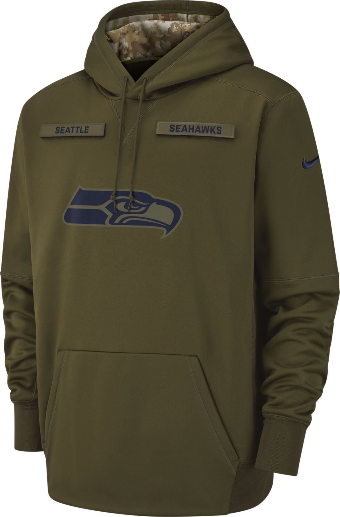 6ac7d397fea Nike Men s Salute to Service Seattle Seahawks Therma-FIT Performance Hoodie  1