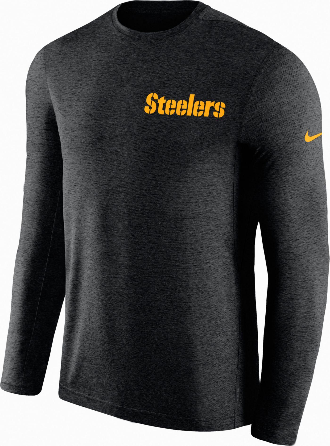 Nike Men's Pittsburgh Steelers Sideline Coach Performance Black Long Sleeve Shirt