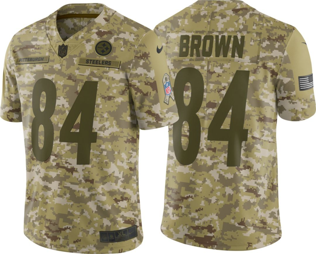 a861398339f Nike Men's Salute to Service Pittsburgh Steelers Antonio Brown #84 Limited  Camouflage Jersey 1