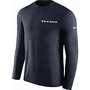 Nike Men's Houston Texans Sideline Coach Performance Navy Long Sleeve Shirt