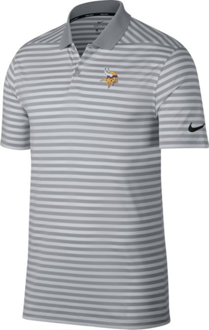 Nike Men's Minnesota Vikings Victory Stripe Grey Golf Polo