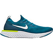 Nike Men's Epic React Flyknit Running Shoes in Green/Blue