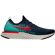 Nike Men's Epic React Flyknit Running Shoes in Navy/Red