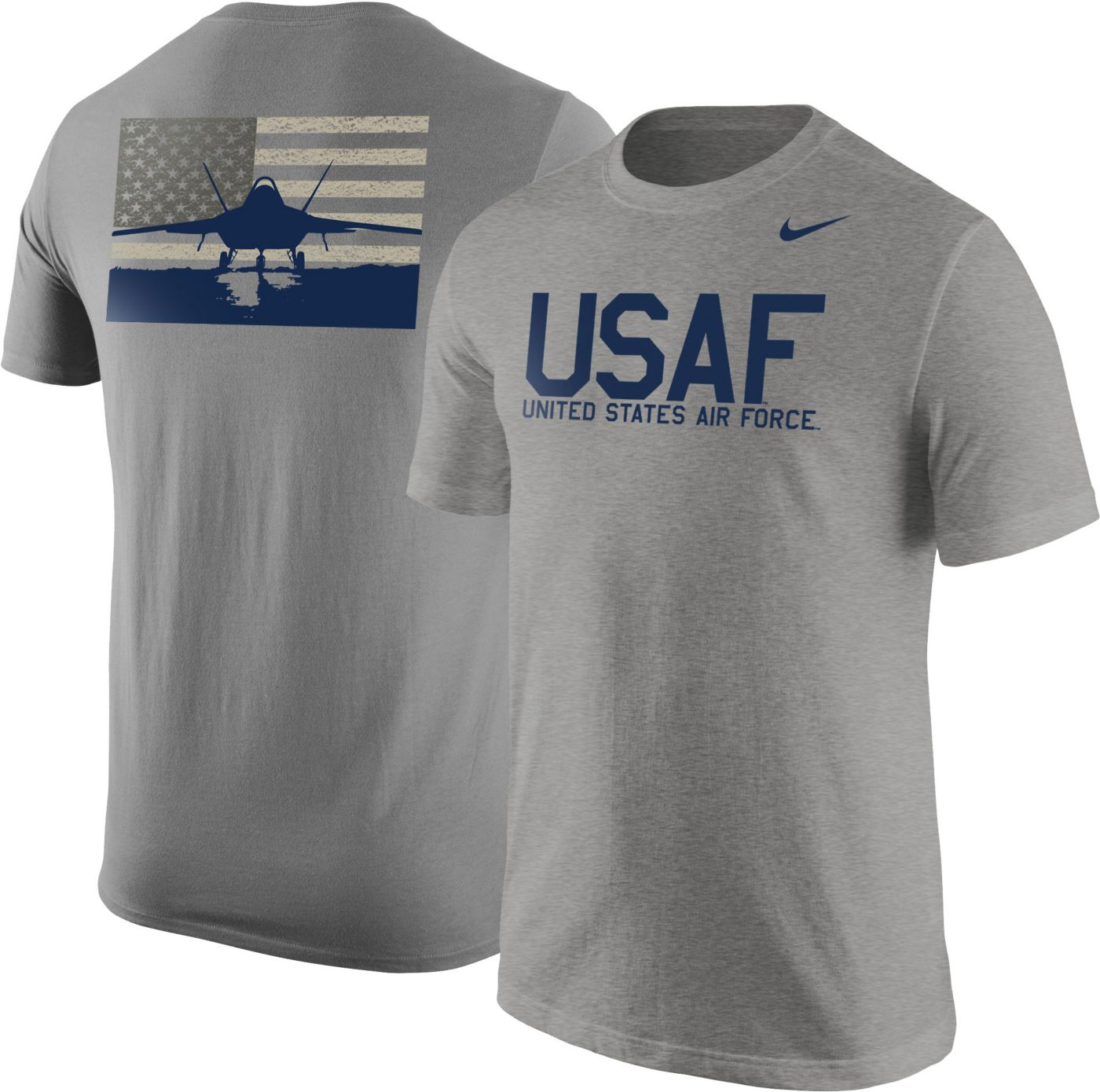 Nike United States Air Force Grey Fighter Jet Short Sleeve T-Shirt