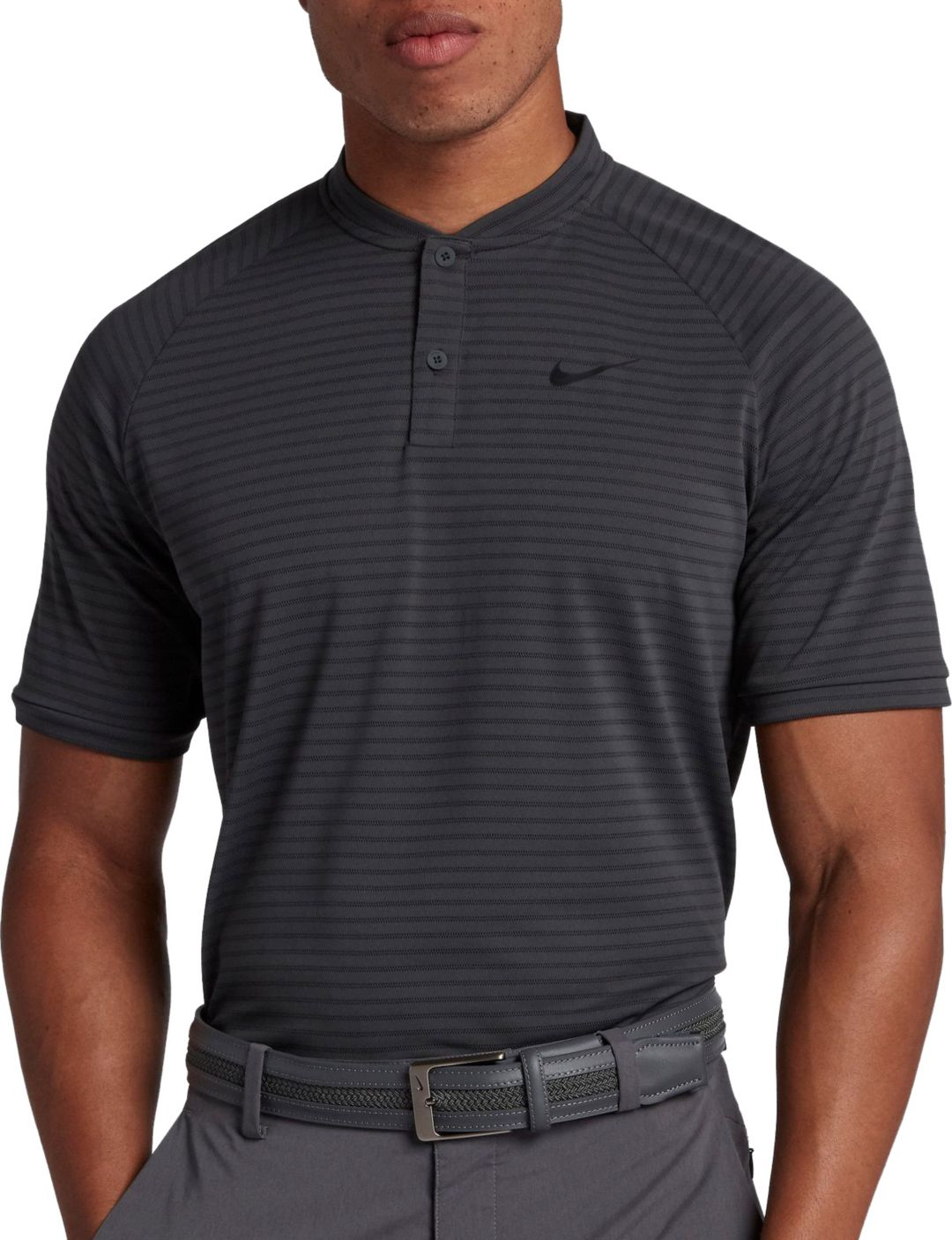 18949cfe Nike Men's Tiger Woods Thin Stripe Zonal Cooling Golf Polo | DICK'S ...