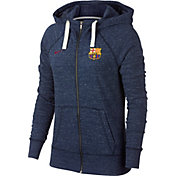Nike Women's FC Barcelona Navy Heathered Full-Zip Hoodie