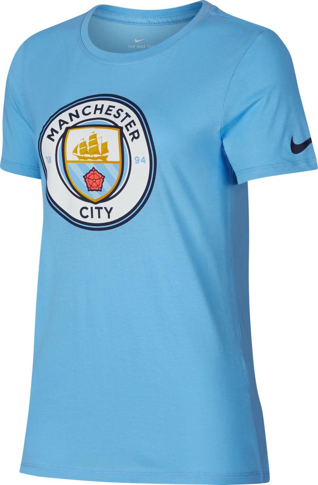 quality design 451fd ec7c0 Nike Women's Manchester City Crest Blue T-Shirt