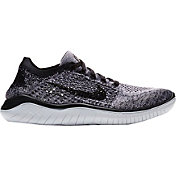 Nike Women's Free RN Flyknit 2018 Running Shoes in White/Black