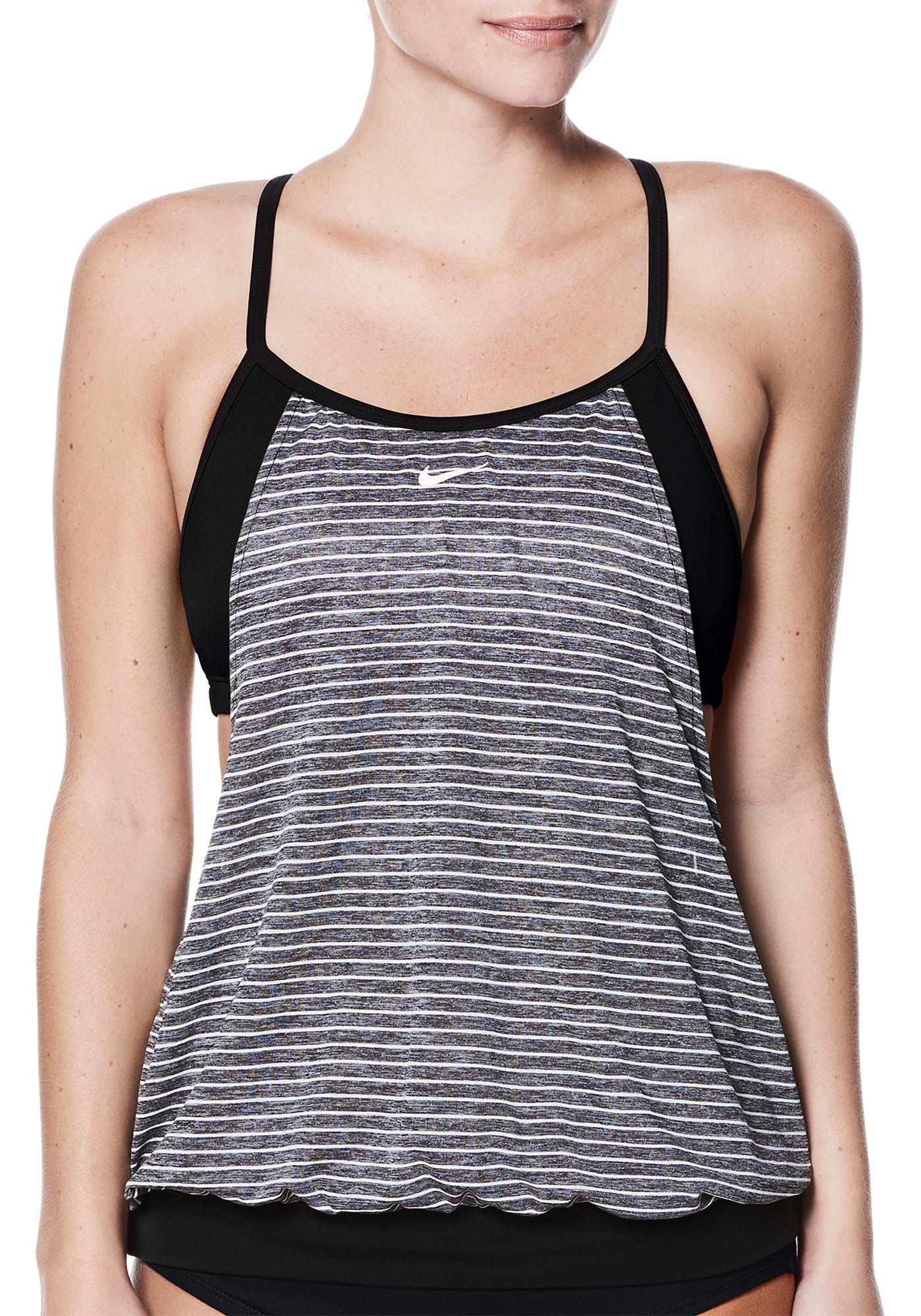 Nike Women's Heather Stripe Layered Sport T-Back Tankini Top