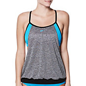 Nike Women's Heather Stripe Layered Sport T-Back Tankini Top