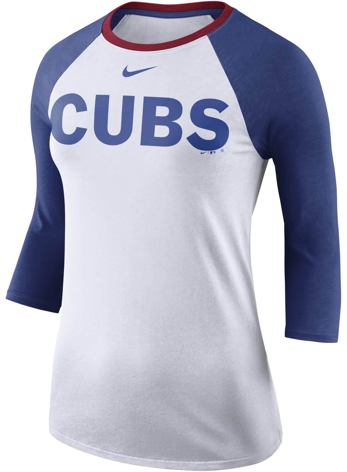 Nike Women's Chicago Cubs Raglan Tri-Blend Three-Quarter Sleeve Shirt