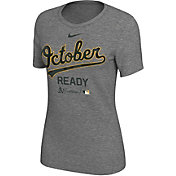 "Nike Women's Oakland Athletics 2018 MLB Postseason Dri-FIT Authentic Collection ""October Ready"" Grey T-Shirt"