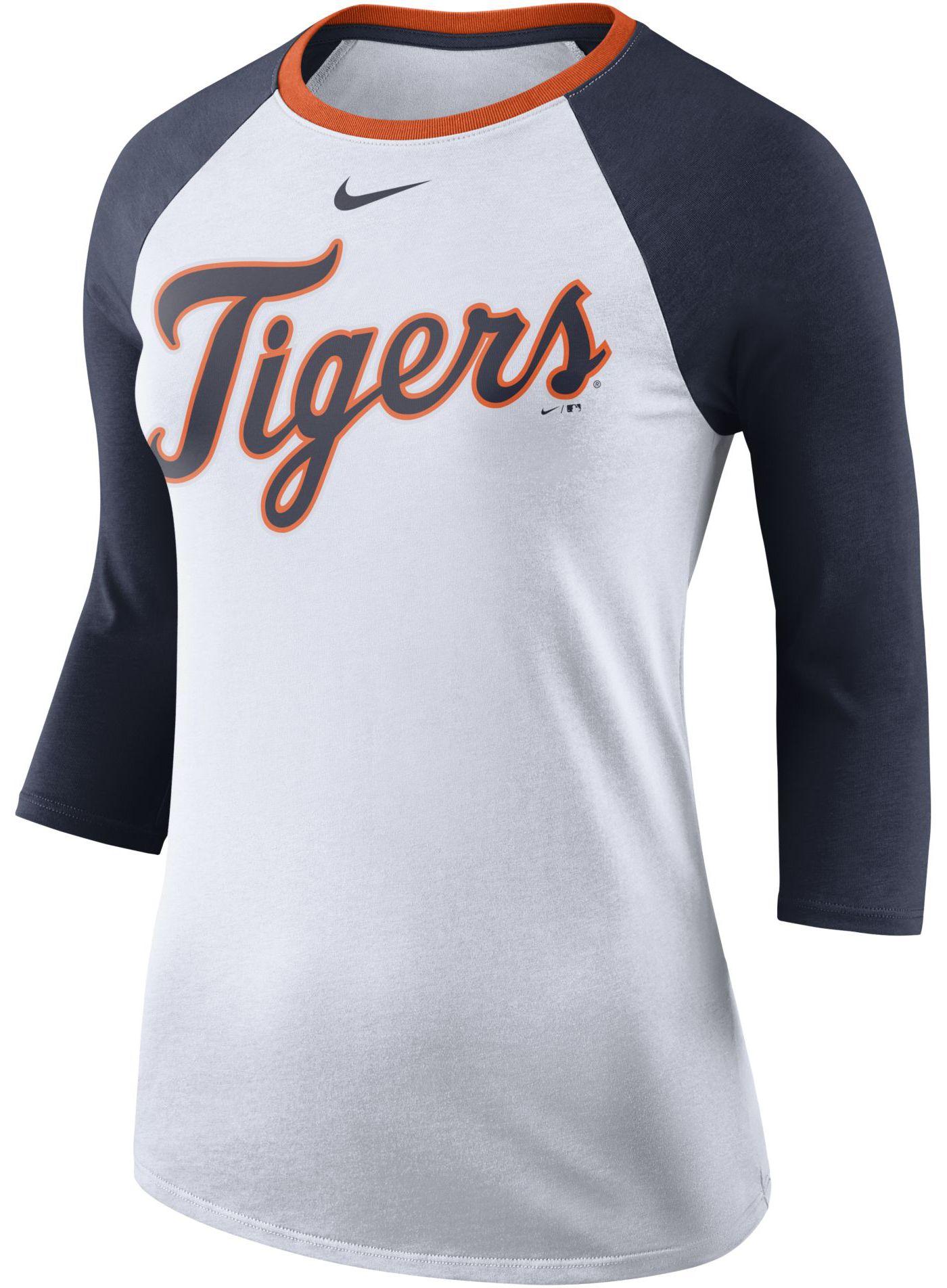 Nike Women's Detroit Tigers Raglan Tri-Blend Three-Quarter Sleeve Shirt