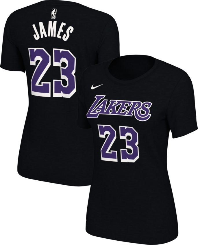 brand new 6eb57 3fe24 Nike Women's Los Angeles Lakers LeBron James Dri-FIT Black T-Shirt