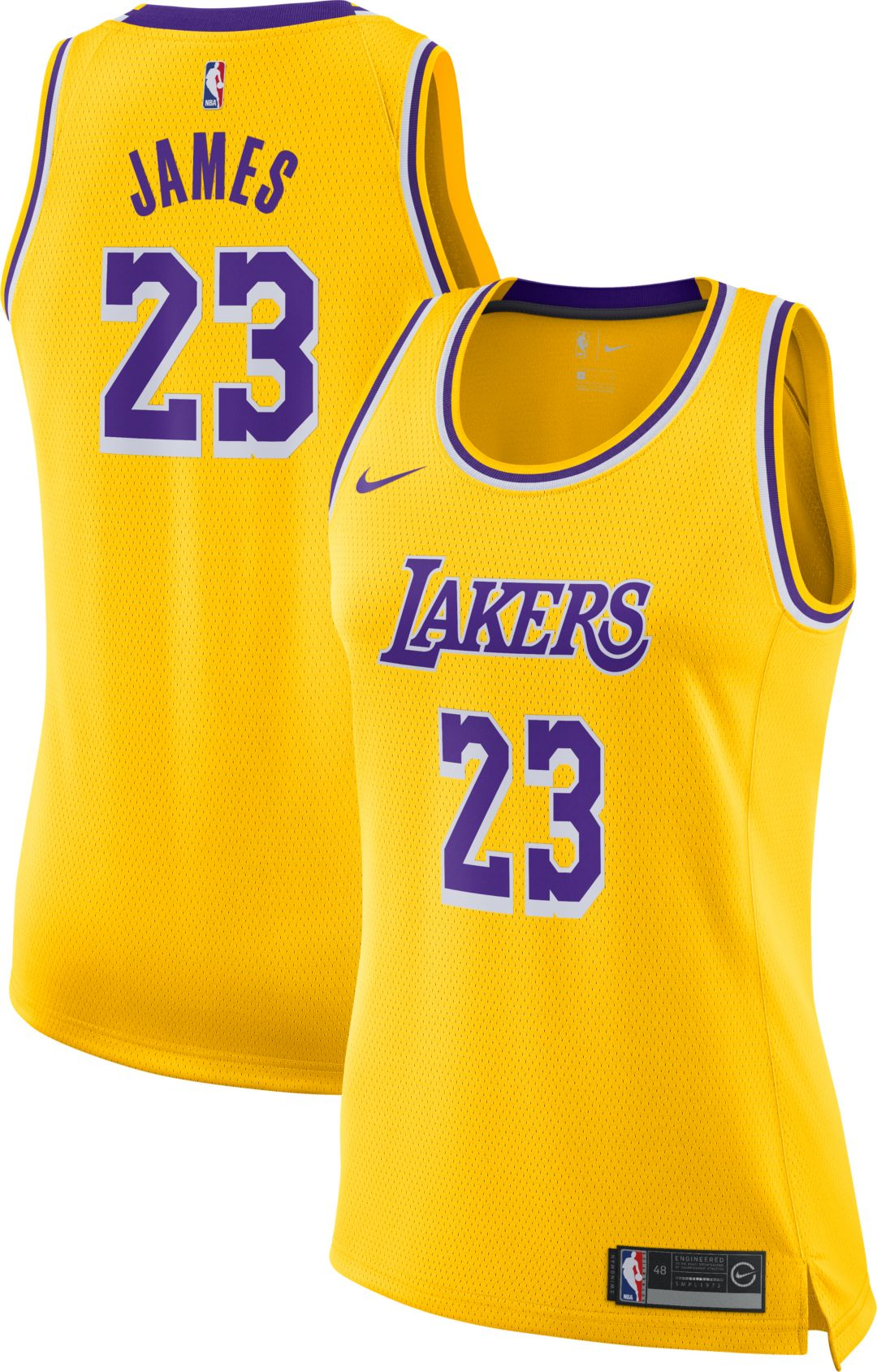 sale retailer 451cd 8ad28 Nike Women's Los Angeles Lakers LeBron James #23 Gold Dri-FIT Swingman  Jersey