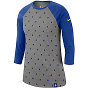 Nike Women's Golden State Warriors Dri-FIT All-Over Print Three-Quarter Sleeve Shirt