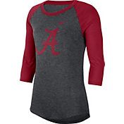 Nike Women's Alabama Crimson Tide Grey Dri-FIT Raglan ¾ Sleeve T-Shirt