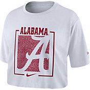 Nike Women's Alabama Crimson Tide Dry Cropped White T-Shirt