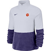 Nike Women's Clemson Tigers Cozy Therma White Half-Zip Fleece