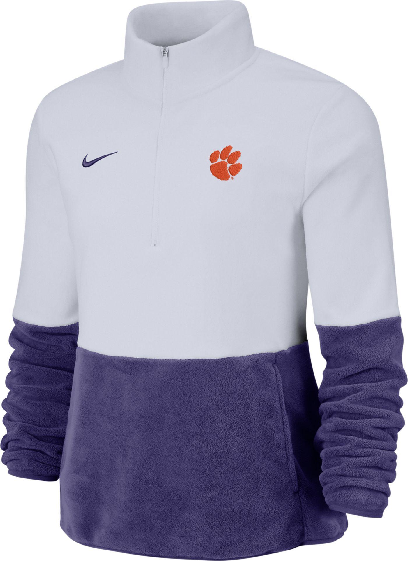 Nike Women's Clemson Tigers Cozy Therma White Half-Zip Fleece