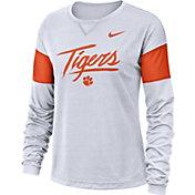 Nike Women's Clemson Tigers Dri-FIT Breathe Long Sleeve White T-Shirt