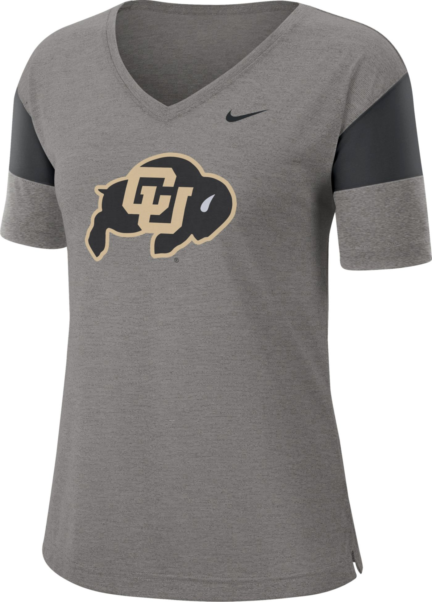 Nike Women's Colorado Buffaloes Grey Breathe V-Neck T-Shirt