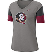 Nike Women's Florida State Seminoles Grey Breathe V-Neck T-Shirt