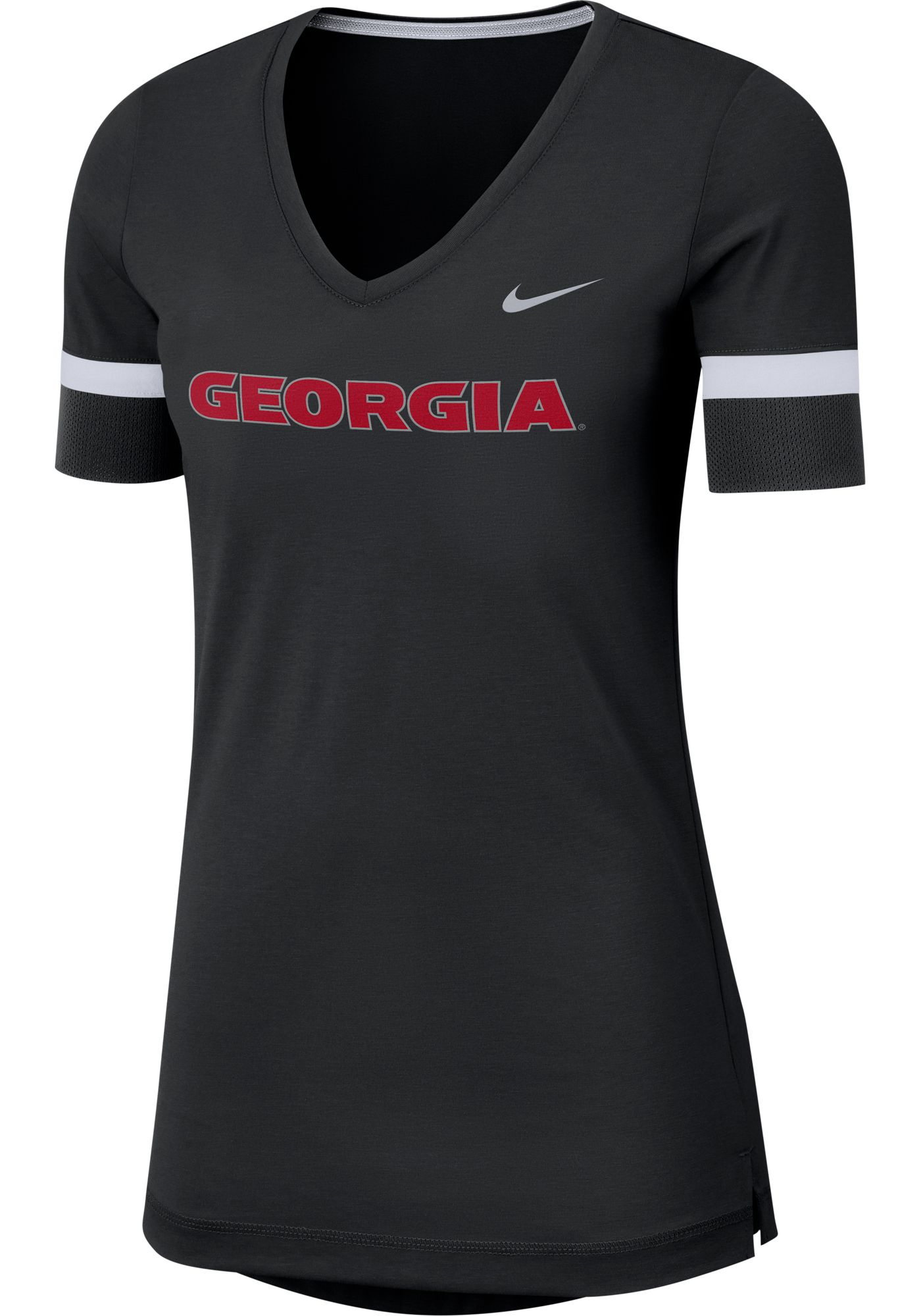 Nike Women's Georgia Bulldogs Dri-FIT Fan V-Neck Black T-Shirt