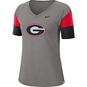 Nike Women's Georgia Bulldogs Grey Breathe V-Neck T-Shirt