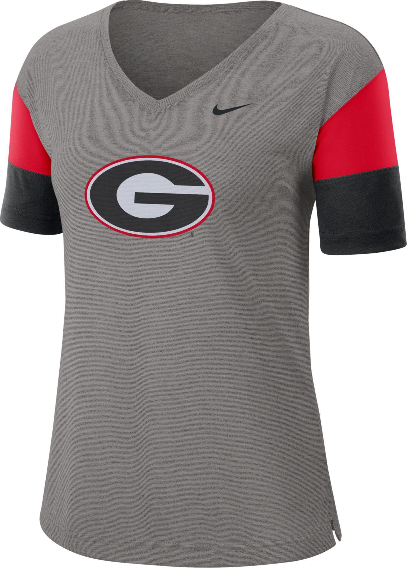 Nike Women's Georgia Bulldogs Grey Breathe V-Neck T-Shirt
