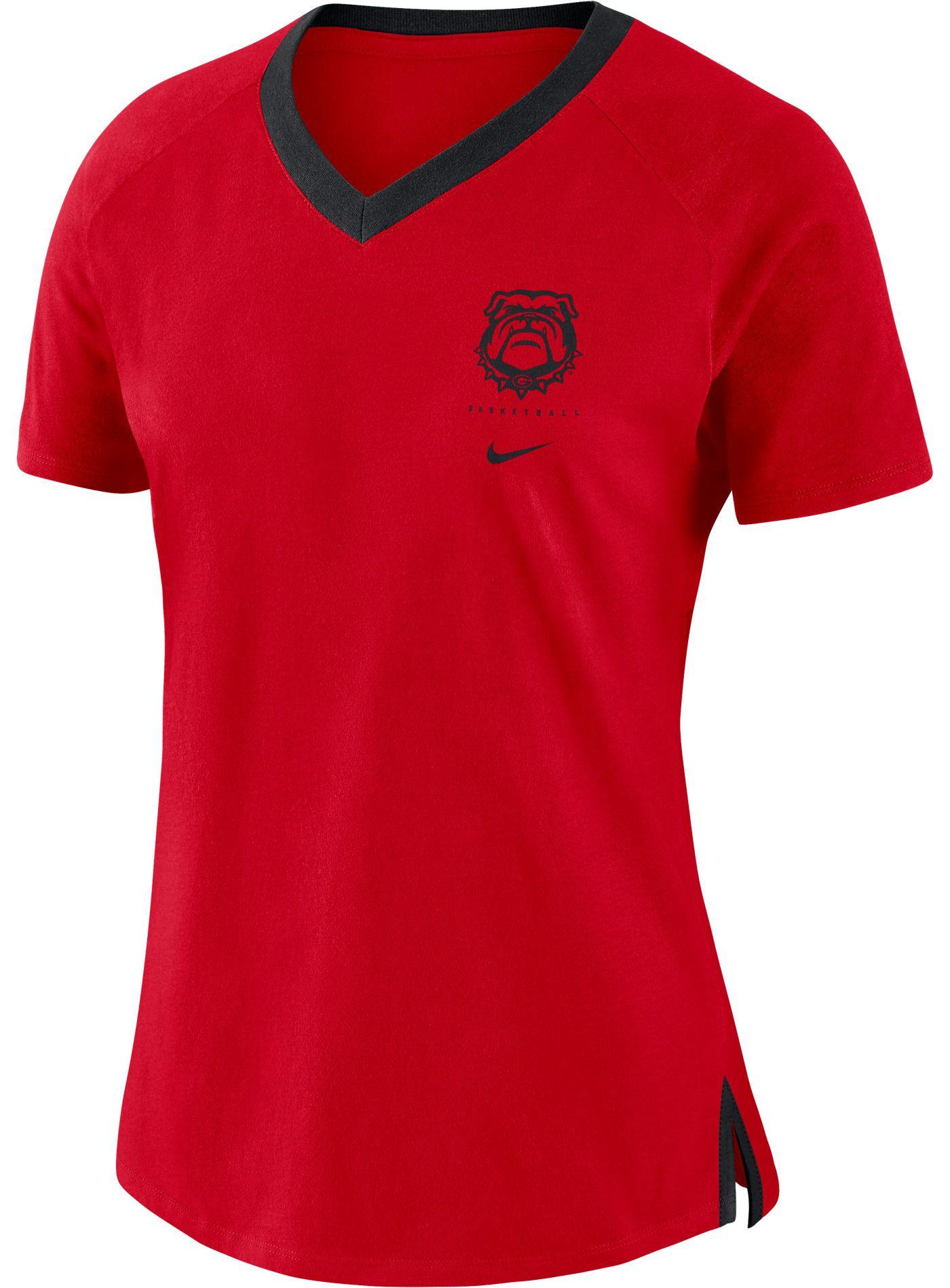 Nike Women's Georgia Bulldogs Red Tri-Blend Basketball Fan T-Shirt
