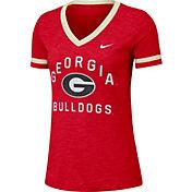 Nike Women's Georgia Bulldogs Red Slub Fan V-Neck T-Shirt